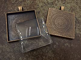 35mm Custom Jewelry Making Pendant Blanks Cameo Bezel Settings Photo Jewelry Antique Copper 24 Deannassupplyshop 35mm inch square Pendant Trays with glass