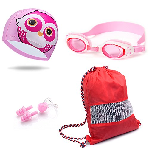 Swimming Goggles & Swim Cap Bundle For kids (Nose Clip, Ear Plugs, Drawstring Backpack) - Cartoon Elastic Designed Non-toxic, Allergy-free Waterproof - Children and Early Teens from 3 to 12 Years Old