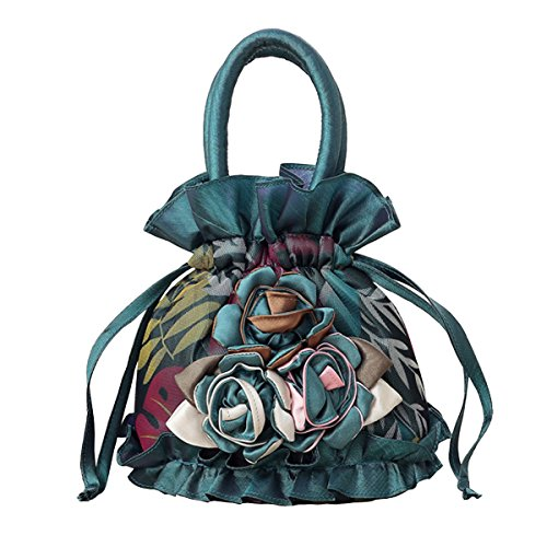 - Womens Ladies Handbag Drawstring Bucket Bag Coin Purses Key Bags Cash Money Phone Pouches - Green