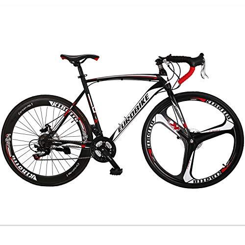 EUROBIKE Road Bike 700C Wheels 21 Speed Disc Brake Bicycle 54cm/Medium Frame Size (3 Spoke mag Wheel)