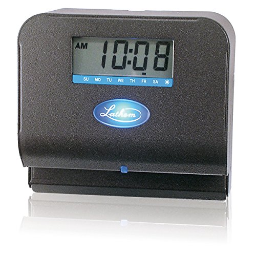 092447001900 - Lathem Tru-Align Thermal Print Time Clock, Automatic, Includes 25 E8 Time Cards, Gray (800P) carousel main 1