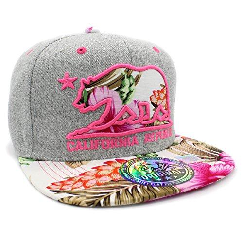 LAFSQ Embroidered California Republic Bear Hawaiian Flower Printed Snapback Baseball Hat (Grey/Pink)