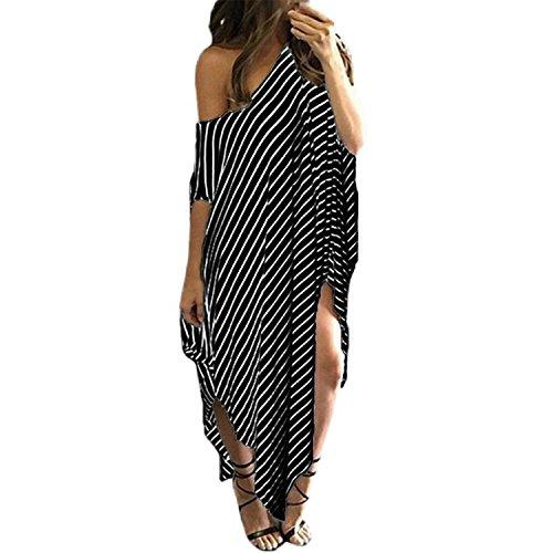 Price comparison product image JIANGTAOLANG Women Summer Black Stripes Dress Irregular Hem Plus Size Beachwear Sexy Split Long Dresses