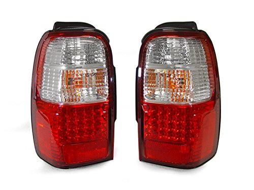 Toyota 4runner Crystal - DEPO 1996-2002 Toyota 4Runner Crystal Red/Clear LED Tail Light Set
