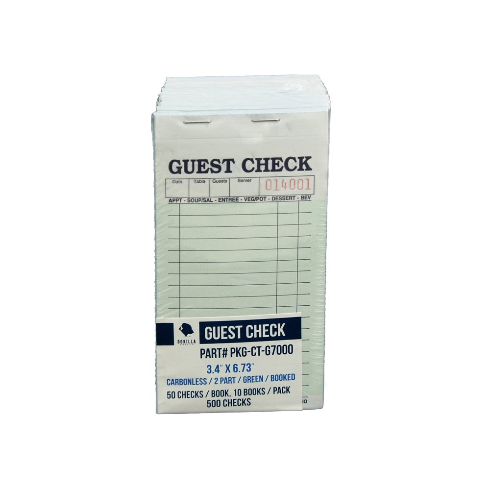 Guest Check PKG-CT-G7000 2 Part Carbonless, Perforated, Green, 3.4'' x 6.73'' Qty: 500 (50 of 10 books)