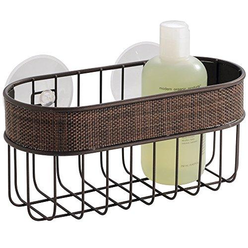 mDesign Bathroom Shower Suction Basket for Shampoo, Conditioner, Soap - Bronze