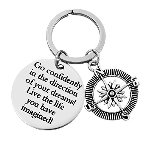 XYBAGS Graduation Gifts with Inspirational Quotes, Go Confidently in The Direction of Your Dreams Compass Jewelry Birthday Keychain Gift (High School Graduation Gift Ideas For Friends)
