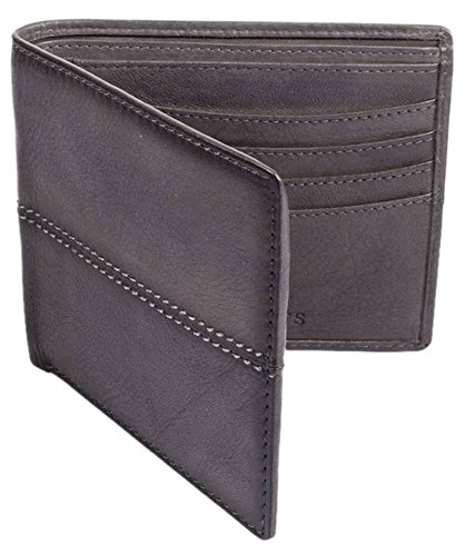 Dents Bifold Stiched Casual Mens Leather Mens Dents Slate Grey Wallet fvqpnwYd