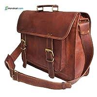 Gbag T 16Inch Vintage Messenger Bag de cuero hecho a mano para maletín portátil Satchel Bag 16X12X5 pulgadas Brown