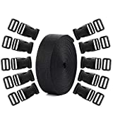 Coopay 20 Set Plastic 1 Inch Flat Side Release Buckles and Tri-Glide Slides with 1 Roll 5 Yards Nylon Webbing Straps for DIY Making Luggage Strap, Pet Collar, Backpack Repairing