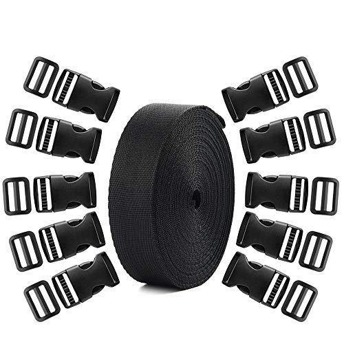 Coopay 20 Set Plastic 1 Inch Flat Side Release Buckles and Tri-Glide Slides with 1 Roll 5 Yards Nylon Webbing Straps for DIY Making Luggage Strap, Pet Collar, Backpack Repairing ()