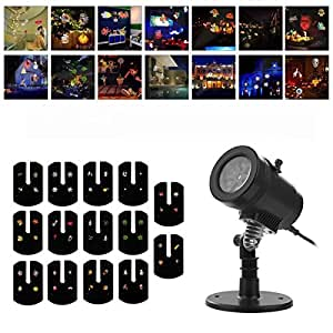 Christmas Projector Lights, Low Voltage Outdoor Decorative Lighting LED Landscape Projector Lamp with 14 Switchable Pattern for Patio Lawn Garden Decoration