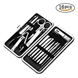 Manicure Pedicure Set Nail Clippers, 16Pcs Stainless Steel Professional Nail Scissors Grooming Kits, Nail Tools with Leather Case