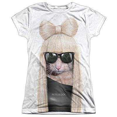Pets Rock Humorous Funny Pet Apparel Lady Gaga Cat Juniors Front Print T-Shirt