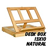 Markin Arts Adjustable Desk Box Easel Swedish Oil Rubbed Solid Beechwood Portable Compact Table Drawer Storage Painting Drawing Sketching Reading Wooden Artist Book Stand iPad Tablet Holder Natural