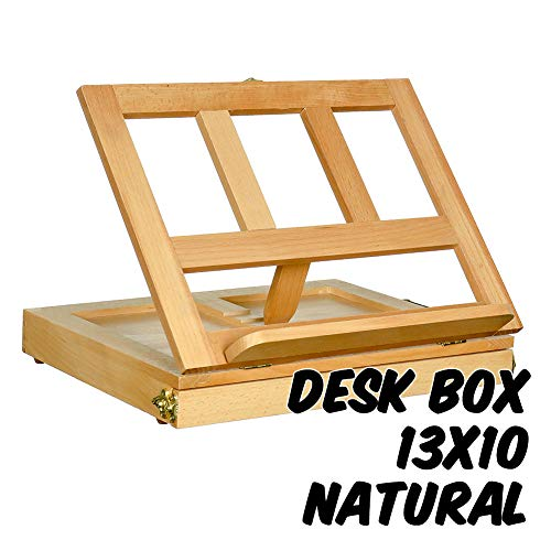 (Markin Arts Adjustable Desk Box Easel Swedish Oil Rubbed Solid Beechwood Portable Compact Table Drawer Storage Painting Drawing Sketching Reading Wooden Artist Book Stand iPad Tablet Holder Natural)