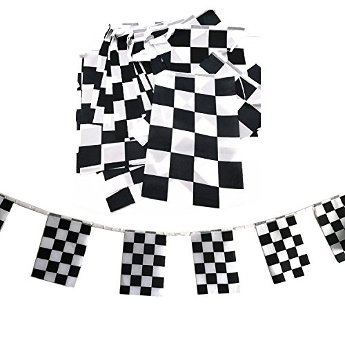 Racing String Flag Banner Black and white Checkered Flag Party Ornament Accessory(38 pcs ) (F1 Racing Flags)