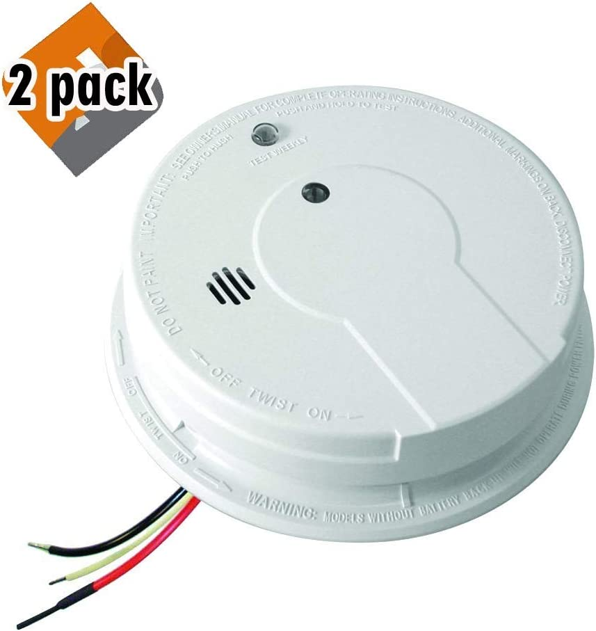 Kidde i12040 120V AC Wire-in Smoke Alarm with Battery Backup and Smart Hush 2 Pack