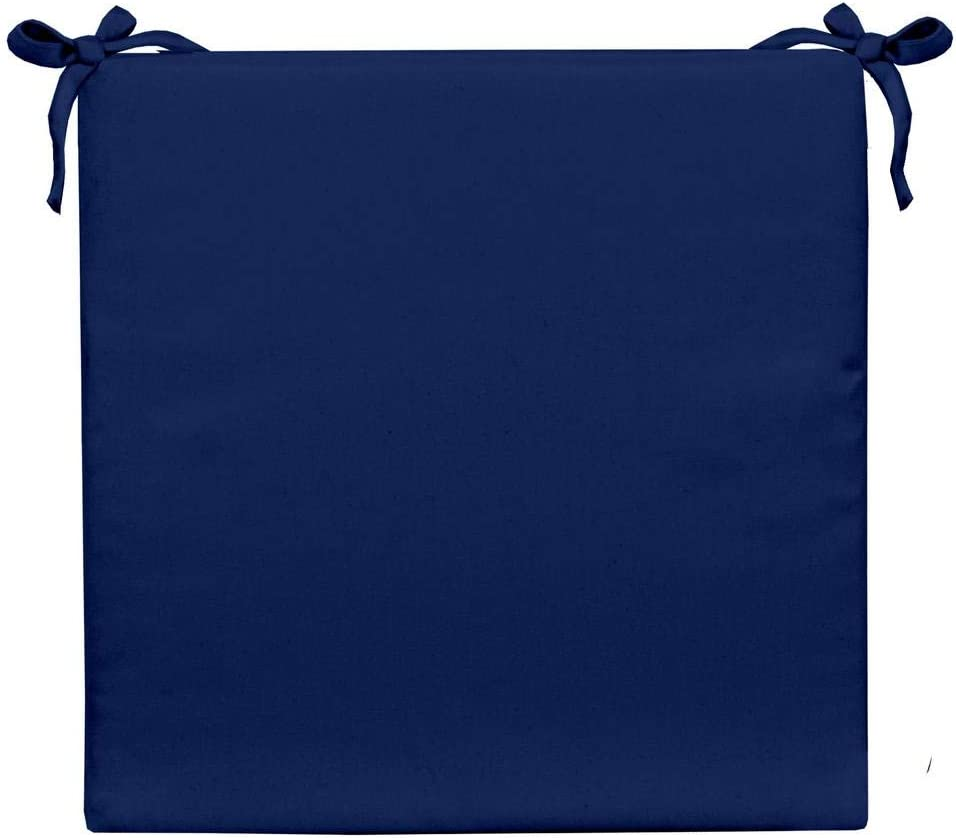 RSH D cor Indoor Outdoor Solid Royal Cobalt Blue Fabric 3 Foam Seat Cushion with Ties for Dining Patio Chairs – Choose Size and Choose Color