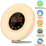 Wake Up Light, kungfuren Sunrise Alarm Clock Light with 6 Natural Sounds,Wake-Up Light with FM Radio & Snooze Function,Fading Night Light Besides Lamp with Touch Control