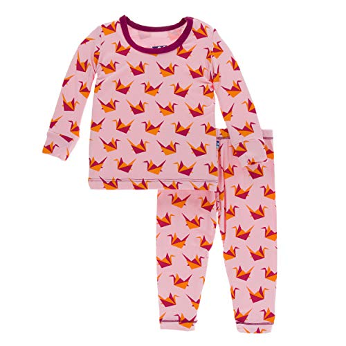 Kickee Pants Print Long Sleeve Pajama Set - Lotus Origami Crane, 6 Years ()