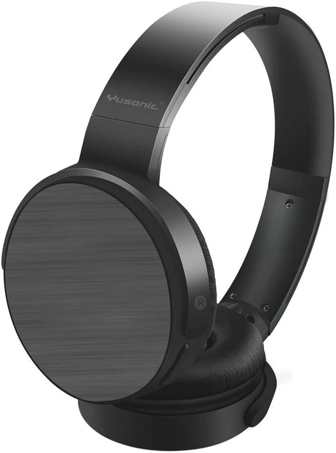 Yusonic Auriculares Bluetooth inalámbricos, Auriculares estéreo inalámbricos y con Cable Plegables Micro SD / TF, Radio FM, micrófono Incorporado para teléfonos celulares, TV, PC (Negro)