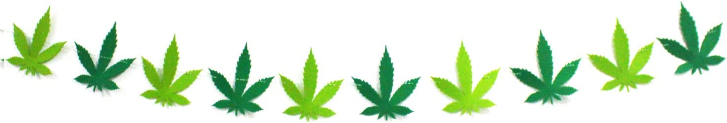 Marijuana Pot Leaf Weed Banner Wall n Room Decor Celebrate 4/20 in Style I Weed Marijuana Accessories Cannabis Theme Party Supplies I Leaf Decorations Tapestry Gifts - Hemp Leaves String Garland