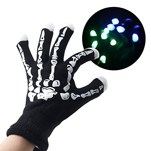Unisex Skeleton Gloves Halloween Costumes Touchscreen Knit Gloves (One Size, NON Touch Screen & LED Light Black/White) - Man In Bear Costume The Shining