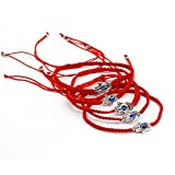 """5pcs """"Lucky"""" Hamsa Red String Kabbalah Bracelets Braided String and Rotating """"Evil Eye"""" Hamsa Hand - Jewish Amulet Pendant Jewelry for Success and Protection Lucky"""
