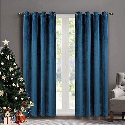 SINGINGLORY Navy Blue Velvet Curtains 52 x 84 Inch Blackout Grommet Window Curtains 2 Panels Set for Bedroom and Living Room (W52 xL84, Navy Blue) (Vintage Teal Curtains)
