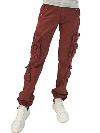 536349c9e6a Women s Cotton Casual Straight Leg Cargo Pants with Multiple Pockets Dark  Red Tag 28-US