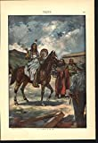 Indian Wild West Confrontation Cowboy 1900 scarce fine chromolithograph print