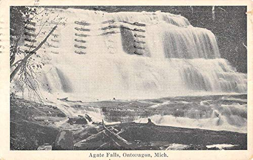 (Ontonagon Michigan Agate Water Falls Scenic View Antique Postcard K106255)