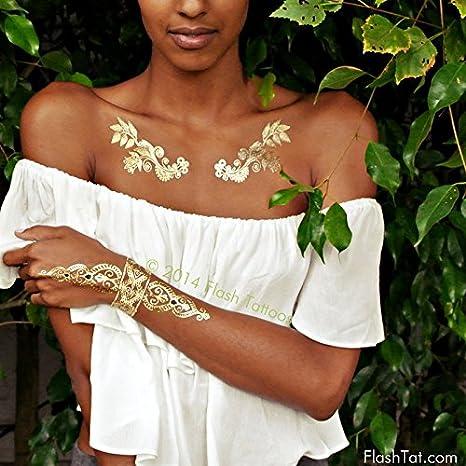 Flash Tatuajes sheebani auténtico metálico tatuajes temporales ...