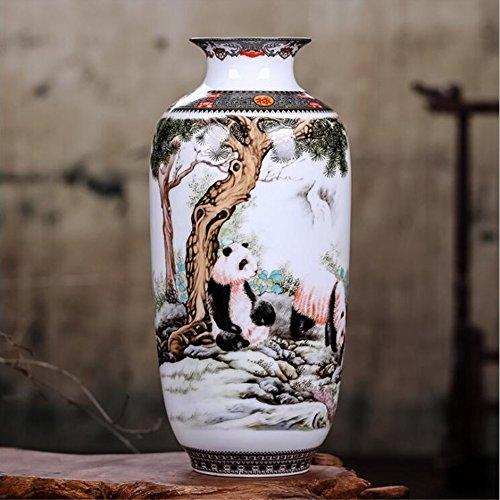 (estinko Jingdezhen White Ceramic Vase Vintage Chinese Style Animal Oriental Vase Home Decoration Furnishing Articles)