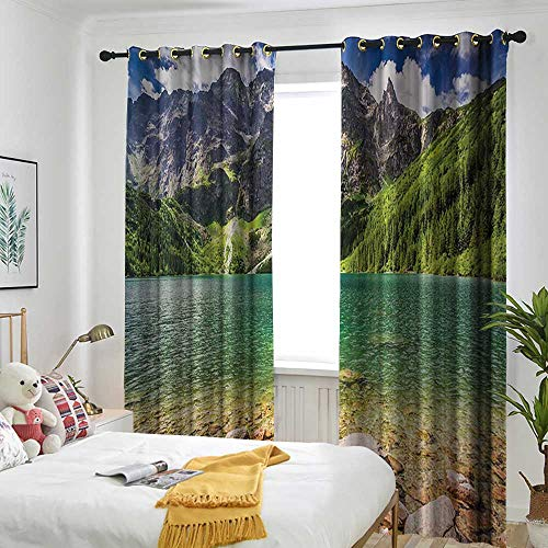 Lakehouse Decor Collection Doorway curtain Lake in the Middle of the Tatra Mountains Poland and Forest at Sunrise with Rocky Shore Picture Darkening Thermal Insulated Blackout 84