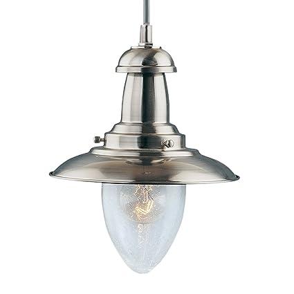 buy popular 99f1f 11a49 Modern Fishermans Pendant Ceiling Light Satin Silver