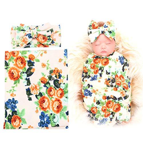 BQUBO Newborn Baby Receiving Blankets Newborn Baby Floral Swaddling with Headbands or Hats Infant Sleepsack (1 Pack -