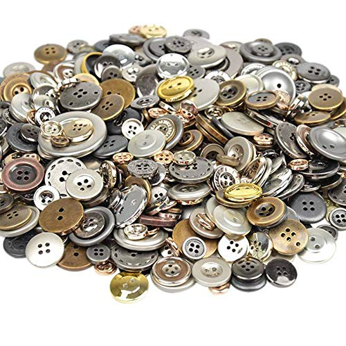 600Pcs Mixed Color 4-Holes Buttons Sewing Craft Scrapbooking DIY Amazing (Color - Golden)