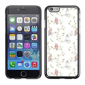 Paccase / SLIM PC / Aliminium Casa Carcasa Funda Case Cover - Vignette Birds Wallpaper White - Apple Iphone 6