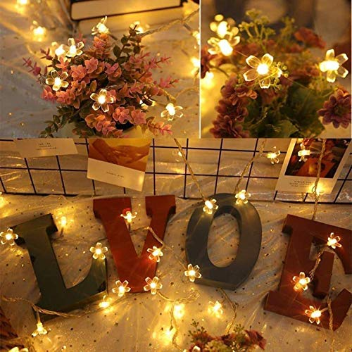 The Bling Stores Blossom Flower Fairy String Lights, 16 LED Christmas Lights for Diwali Home Decoration , Yellow