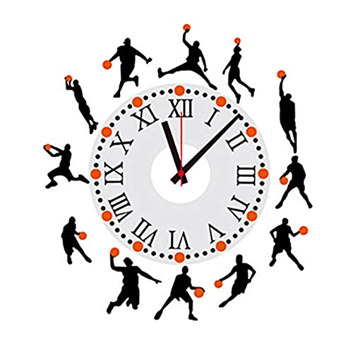 Basketball Clock - uxcell Basketball Man Removable DIY 3D Family Wall Clock Art Time Wall Sticker Decal Decor for Home Office Room