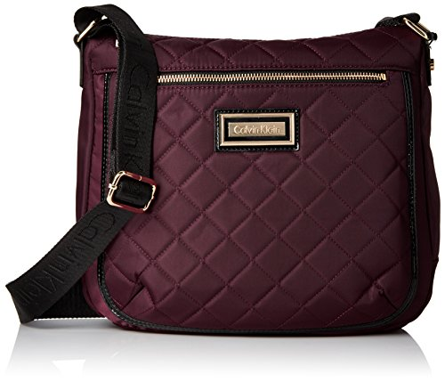 Price comparison product image Calvin Klein Women's Belfast Quilted Nylon Messenger, Rum Raisin/Black Patent