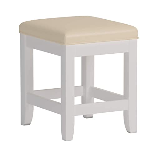 Home Styles Naples Vanity Bench, Constructed with Hardwood Solids with White Finish, with Cream Vinyl Cushion Padded Seat