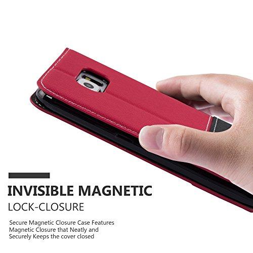Cadorabo - Funda Estilo Book para Samsung Galaxy S6 (NON PARA EDGE) de Diseño gamuza-Artificial / Cuero-Artificial con Tarjetero, Función de Soporte y Cierre Magnético Invisible - Etui Case Cover Carc ROJO-NEGRO
