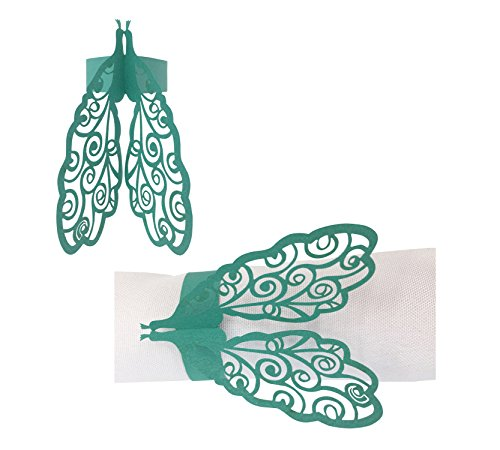 50 PCS Delicate Peacock Pattern Paper Napkin Rings Holders Laser Cut Design paper napkin Rings for Wedding Banquet Dinner Party Decoration Favor Butterfly (Peacock-Blue) Butterfly Peacock