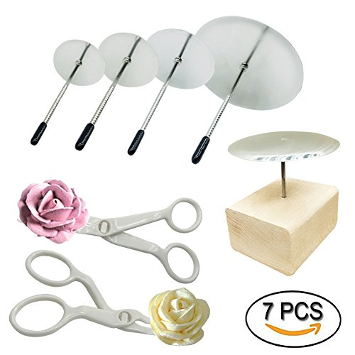 Cake Decorating Flower (Woohome 7 PCS Cake Decorating Supplies Includes 4 PCS Cake Flower Nail, 2 PCS Flower Lifters and 1 PCS Wood Flower Nails Holder, Cupcake Decor Tools Baking Tools for Icing Flowers Decoration)