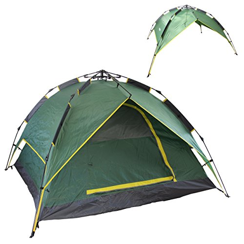 Cheap EAXEA 4 Person Pop Up Tents for Camping,3 Season Waterproof Lightweight Backpacking Tent come with Portable Carry Bag 8 Pegs and Ropes,Double Layer Double Doors portable Camping Tent Green