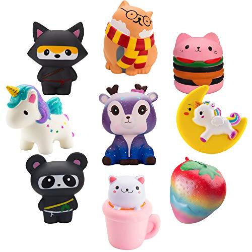 BeYumi Slow Rising Toy, Unicorn, Hamburger, Ninja, Cat Squishy Toy, Kawaii Jumbo 6 Pcs Squishy Toy, Cream Scented Simulation Cute Animals Toys Gift for Kids Lovely Stress Relief Toy