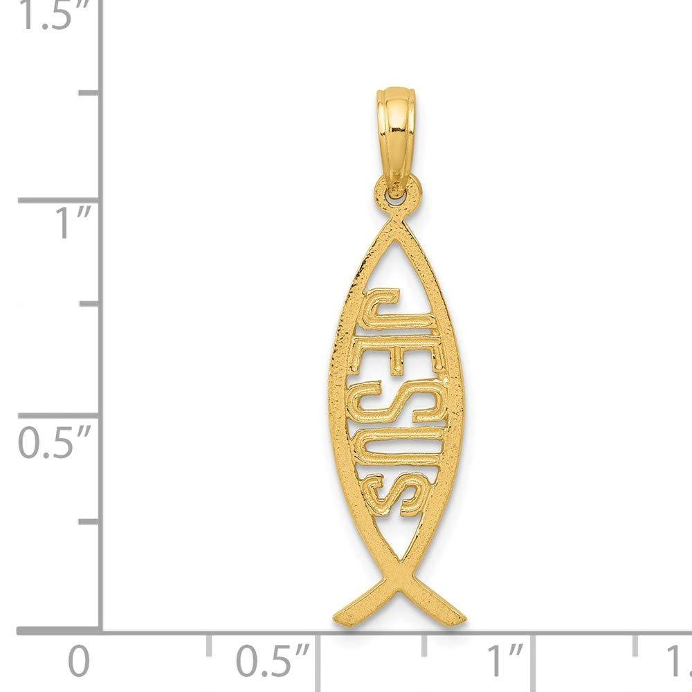FB Jewels Solid 14K Yellow Gold Ichthus Fish Jesus Pendant